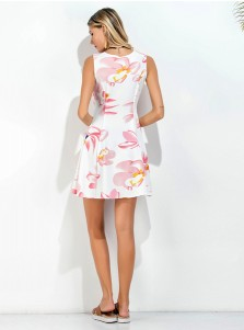 Square Neck Sleeveless Short White Cotton Floral Printed Dress