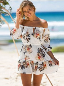 Off-the-Shoulder 3/4 Sleeves Cutout Cotton Floral Printed Dress