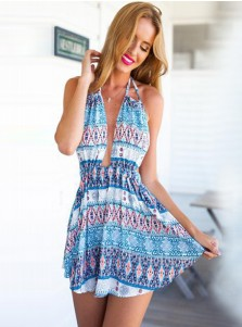 Halter Sleeveless Backless Short Cotton Sexy Boho Printed Dress