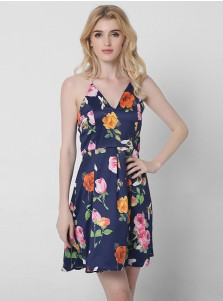 V-Neck Criss-Cross Straps Short Navy Blue Floral Printed Dress