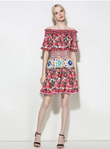 Off-the-Shoulder Short Sleeves Multi Color Floral Printed Dress
