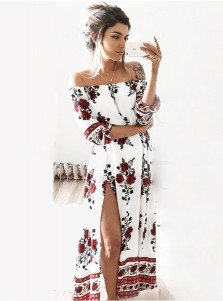 Off-the-Shoulder 3/4 Sleeves High Side Slit  Floral Printed Dress
