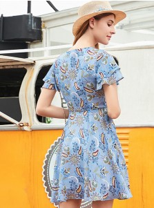 V-Neck Flare Sleeves High Waist Blue Floral Printed Dress