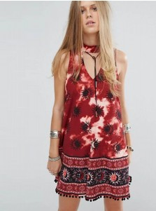 V-Neck Sleeveless Tassel Red Short Tank Floral Printed Dress
