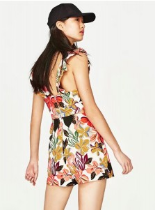 Deep V-Neck Sleeveless Short Multi Color Floral Printed Dress