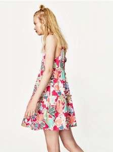 Spaghetti Straps Open Back Short Multi Color Floral Printed Dress