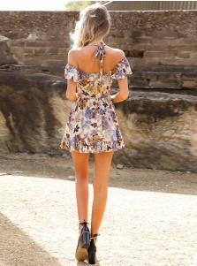 Halter Open Back  Short Cutout Multi Color Floral Printed Dress