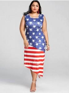 Asymmetry Star Striped Patriotic Printed Dress