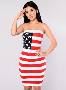Strapless Star Striped Print Patriotic Bodycon Dress