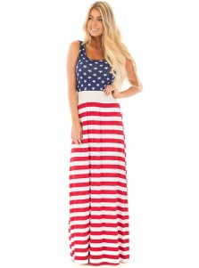 Round Neck July of 4th Patriotic Printed Maxi Dress