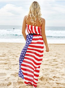 Sash Strapless Star Striped Patriotic Maxi Dress