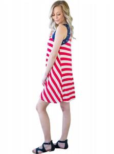 Star Striped Print Patriotic Short Cami Dress
