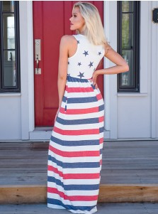 Star Striped July of 4th Printed Maxi Dress