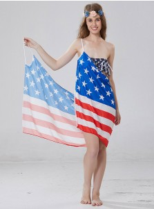 Sexy American Flag July of 4th Backless Slip Dress