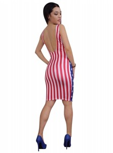 Star Striped Backless Patriotic Short Bodycon Dress