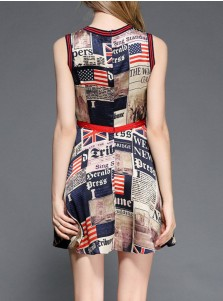 American Flag Graphic Print July of 4th Summer Dress
