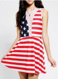 Star Striped Print Patriotic Round Neck Short Summer Dress