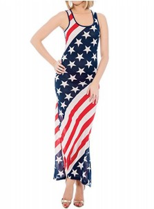 American Flag Print Patriotic Sheath Maxi Dress