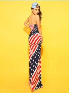 American Flag Strapless Star Striped Maxi Summer Dress