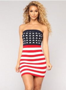 Star Striped Strapless July of 4th Patriotic Bodycon Summer Dress