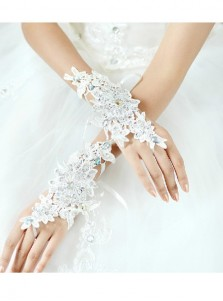 White Appliques Fingerless Bridal Gloves For Wedding Party