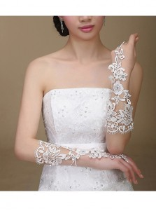 Fingerless Lace Appliques White Bridal Gloves