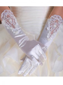 Simple Satin With lace Appliques Fingers Bridal Gloves