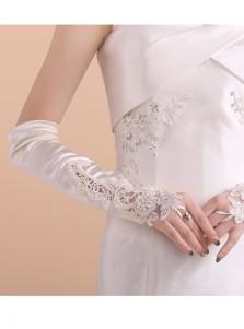 Satin Lace Appliques Elbow Length Bridal Gloves