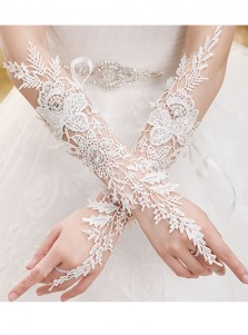 Lace Hollow Elbow Length Bridal Gloves With Rhinestones