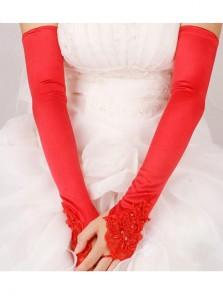 Above The Elbow Fingerless Red Elastic Satin Bridal Gloves