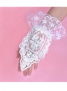 White Lace Appliques Bridal Gloves/Wristband With Rhinestones