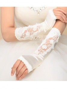 Fingerless White Elbow Length Satin Bridal Gloves With Pearls