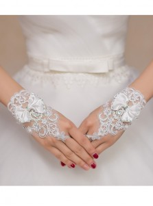 Simple Lace Appliques White Bridal Wristband