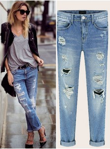 Thin Nature Waist Ripped Loose Jeans