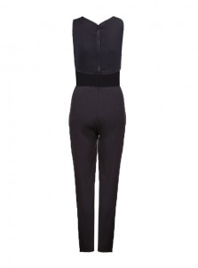 Sexy Black Backless Sleeveless Hollowed Jumpsuit