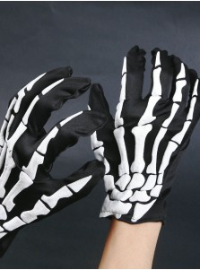 Fashionable Skeletons Hand Pattern Halloween Gloves For Men