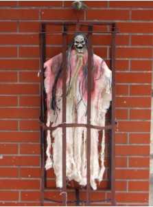 Halloween Scary Hanging Ghost Sound Control Prison Skull