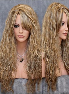 Hot-Selling Kee Wig Moda Peluca Rizada Mezcla Medio Halloween Party