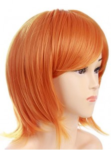 Cosplay Short Orange Nami Full Lace Wigs for Halloween