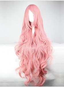 Fashion Anime pink wigs Volume silk long hair curly wave Cosplay Halloween