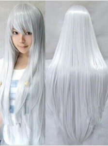 Hot-Selling Long Silver Straight Cosplay Wigs Party