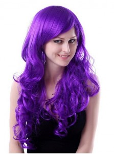 Adult Long Cosplay Wigs Curly Purple