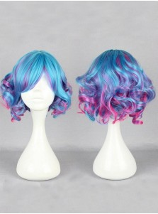 30cm Short Wavy Multicolor Lolita Curly Cosplay Anime Wigs