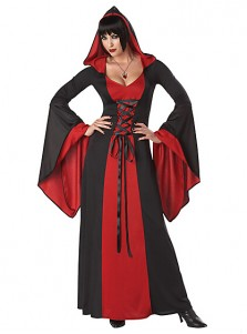 Scary Black Long Vampire Cosplay Womens Deluxe Hooded Gown Costume