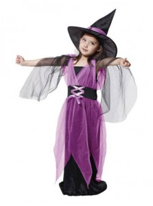 Halloween Costumes Girl Black Fly Witch Costume Dress and Hat Cap Party Cosplay Clothing