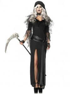 Scary Black Long Witch Halloween Custume With Hat For Women