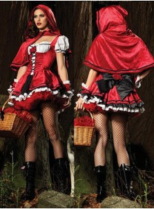 Little Red Riding Hood/Evil Queen Cosplay Halloween Queen Witch Costume