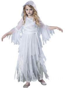 New Style Scary Ghost Girl White kids Halloween Custome With Hat
