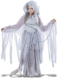 Haunting Beauty White Long Dress Halloween Costume For Girls Wuth Cape