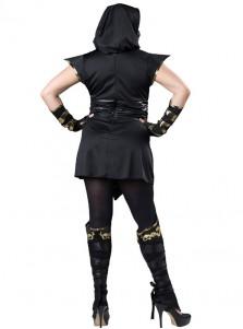 Elite Ninja New Style Black With Gold Plus Size Halloween Costume